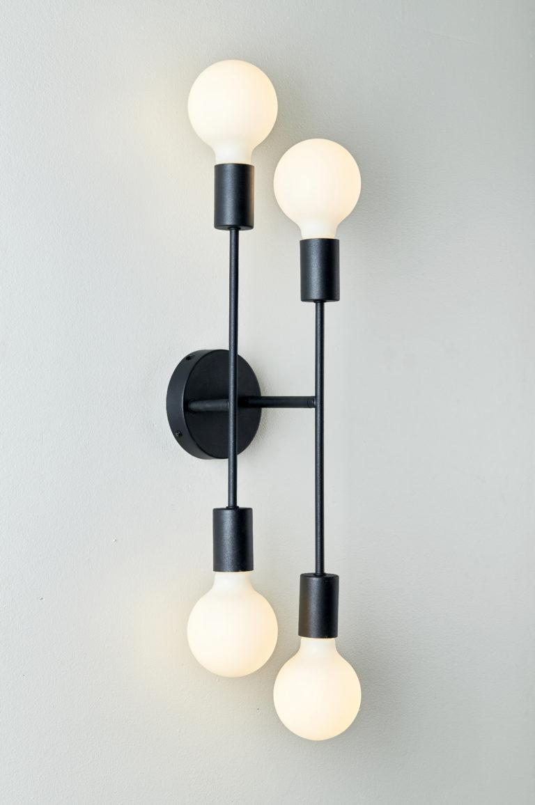 MS Cross 4xE27 plafond/vegg sort