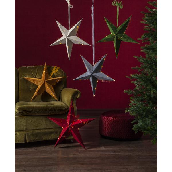 Star Velvet Stjerne 60cm Rød batteri/timer