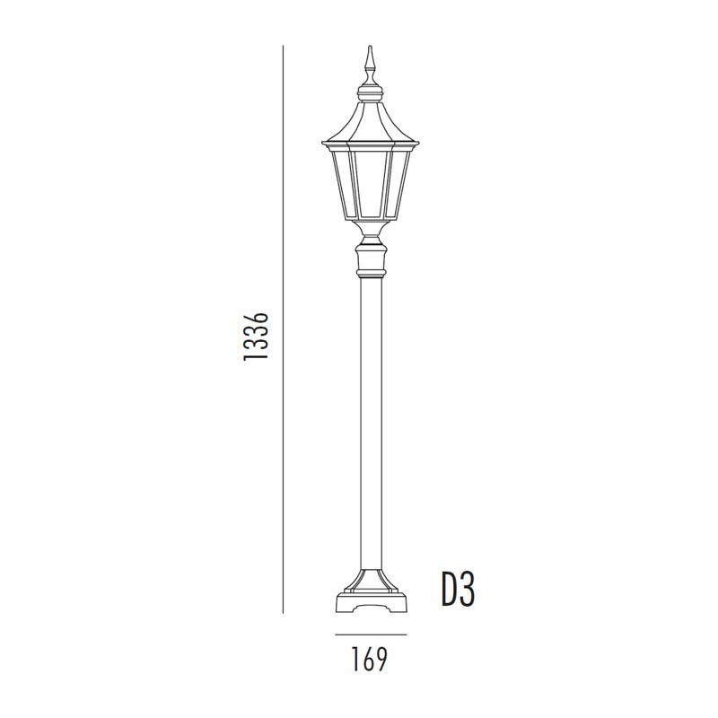 Noral Regent D3 Sort Stolpe IP44 H:133,6 cm E27