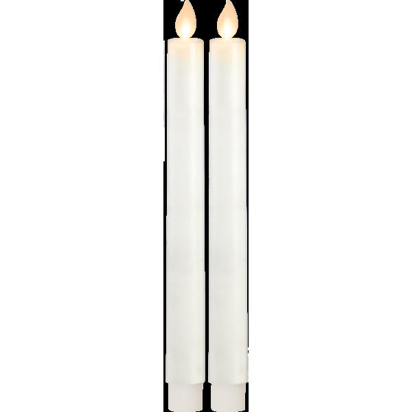 Star Twinkle kronelys hvit 24cm 2pk timer/batteri