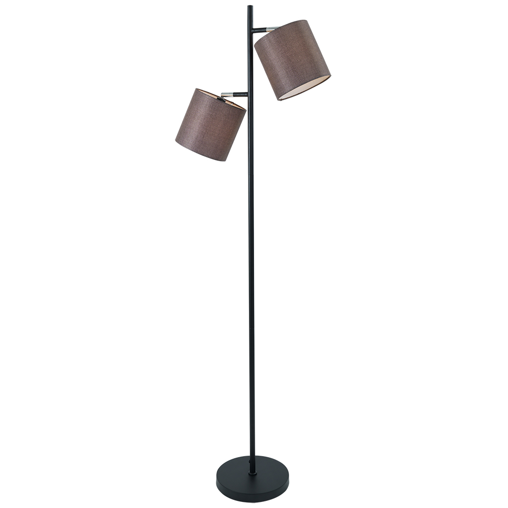 EA Viva gulvlampe 2-lys sort/brun skjerm