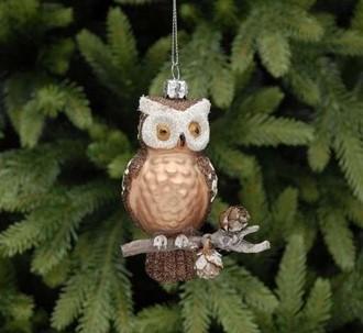 Trend Julekule Ugle på gren 12cm glass