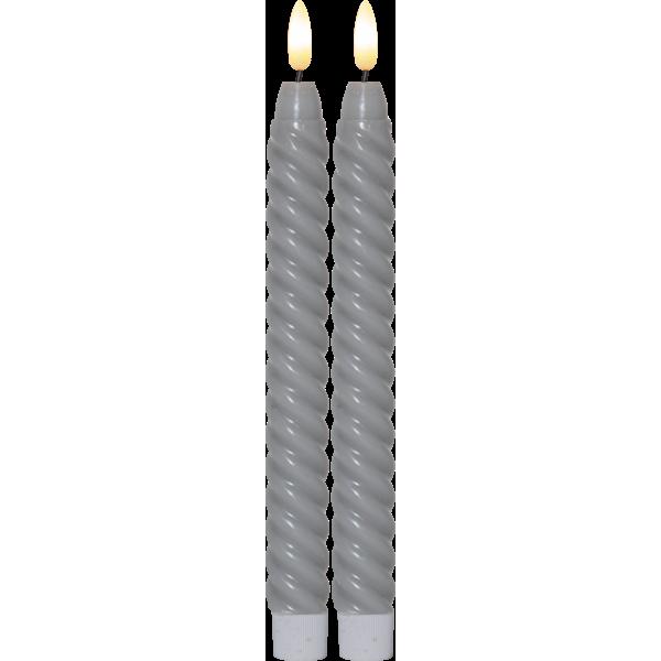 Star Flamme Swirl antikklys Grå 25cm