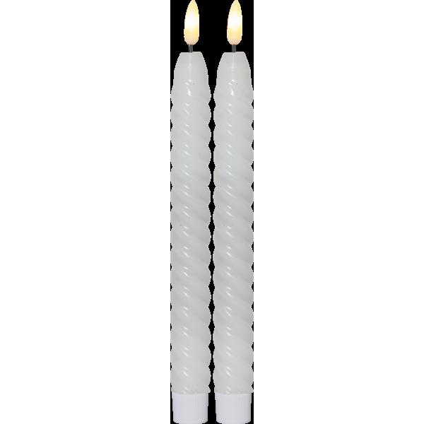 Star Flamme Swirl antikklys Hvit 25cm